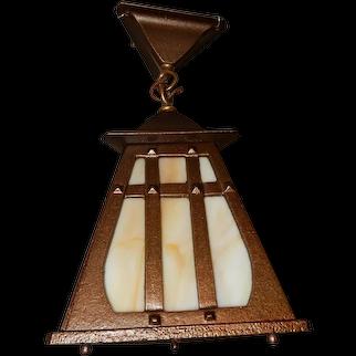 Tudor Arts & Crafts Cast Iron Porch Light Pendant w/ Carmel Slag Glass