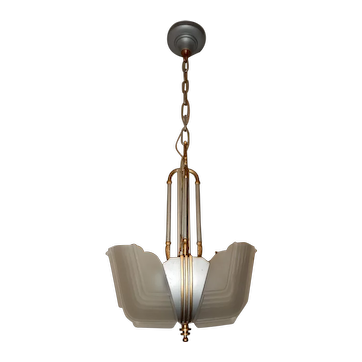 Ca. 1930s Art Deco 2-Light Slip Shade Chandelier