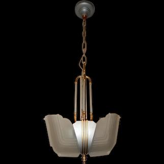Ca. 1930s Art Deco 2-Light Slip Shade Chandelier