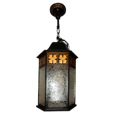 Tudor Colonial Cast Iron Porch Light Pendant w/ Old Glue Chip Glass