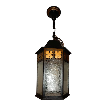 Tudor Colonial Cast Iron Porch Light Pendant w/ Old Glue Chip Glass