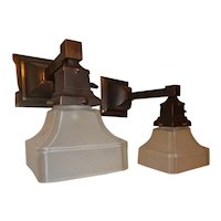 Pr. Simple Mission Style Arts and Crafts Sconces With Etched Shades