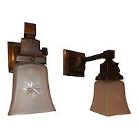 Pr. of Ca. 1910 Mission Arts & Crafts Style Sconces with period Star Cut Shades
