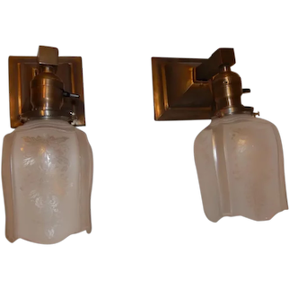 Pr. Simple Mission Style Arts and Crafts Sconces With Acid Etched Shades