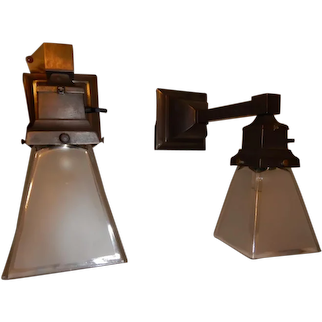 Pair of Ca. 1910 Mission Style Sconces with Period Etched Shades