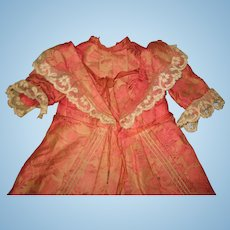 ANTIQUE silk french dress  for medium size doll