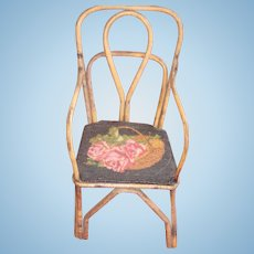 Antique Bamboo Chair.Embroiderie,for medium size doll