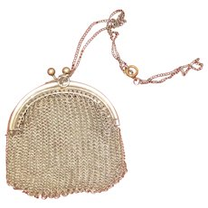 small Silver mesh Purse for french fashion Doll