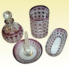 Art Glass by Baccarat France - Simply superb 5-pc AMETHYST Vanity Set - Diamant Pierreries Model