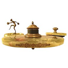 Exquisite Antique Art Nouveau Onyx & Bronze Desk Set with Inkwell and Cymbal Dancer Tray - 1915