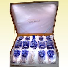 Hand-carved 13-pc Cameo Art Glass Set with Blue Overlay - D72