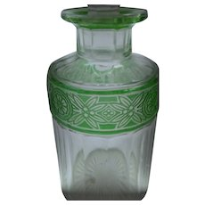 BACCARAT Art Glass - French EMPIRE Perfume Decanter with Green Frieze Pattern (A2)