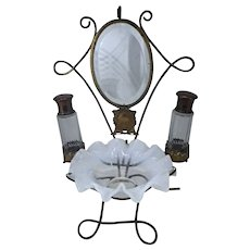 French Opaline Vanity Items on Brass Stand