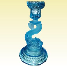 Aquamarine Art Glass - The DOLPHIN Candelabra from France - D63