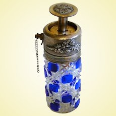 BOXING DAYS ARE HERE --- Antique BACCARAT COBALT Perfume Bottle Piston Atomizer - Art Glass Brio!