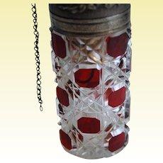 Antique BACCARAT Ruby Red Perfume Bottle Piston Atomizer - Art Glass Brio!