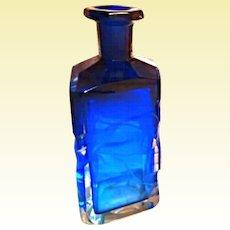 OK1 - ONE Stunning MOSER Karlsbad Cobalt Blue Intaglio TALL Perfume Scent Bottle