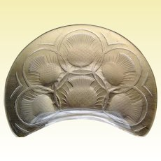 "Mid-Century Art Glass by Lalique, France - Set of four Acid-etched ""Chardons"" Thistle Crescent Plates - Rare! (C4)"
