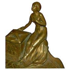 BLACK FRIDAY Bonanza  - Delightful Art Nouveau Gilt Bronze Maiden Inkwell