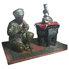 Antique Cold Painted Bedouin Musician Inkwell