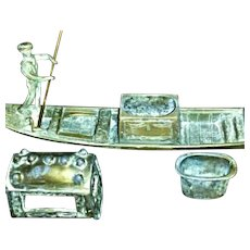 Picturesque Cold Painted Venitian Canal Gondola INKWELL - Circa 1900