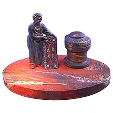 Cold painted Carpet Seller on Marble INKWELL