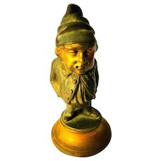 Wonderful Cast Metal Gnome / Leprechaun Desktop Inkwell - WMF Antique from Germany