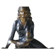 Superb Figural Metal Mantelpiece on Marble Base - Art Deco Period - The Lady and the Pheasant