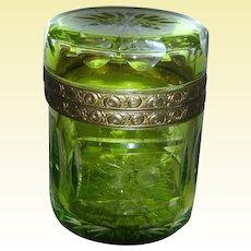 1900s MOSER KARLSBAD Luminescent Lime Green Ormolu Lidded Casket from the Czech Republic - More than rare!