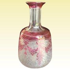 Val-Saint-Lambert Cameo Pink Garland - Night Table Decanter & Drinking Glass
