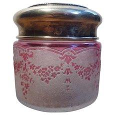 Val-Saint-Lambert Art Glass - Cranberry Cameo Powder Jar