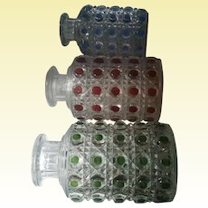 BACCARAT France: Pierreries Model – Three Diamond Cut Crystal Perfume Scent Bottles / In Three Different Colors - Scarce!