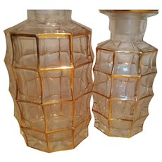 Baccarat Clear Cut Crystal Perfume Scent Bottles with Gold Overlay