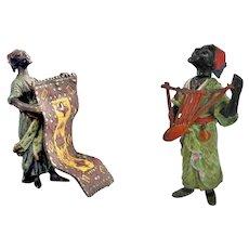 HEYDE, Germany - 1900's Cold-painted Polychrome Moorish Figurines: Iritungu Musician & Carpet Seller
