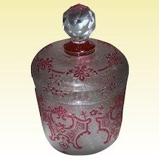 Antique Art Glass 1 - Val Saint Lambert, Belgium - Signed Cameo Vanity Powder Box - Acid-etched marvel