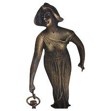 Stunning Signed Figurative Bronze Watch Holder by Victor Heinrich Seifert (German, 1870-1953) - Scarce!