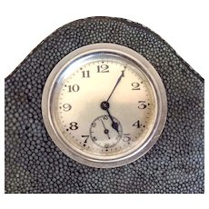 Superb Art Deco Wind-up Shagreen Desk Clock