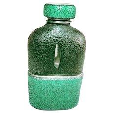 Vintage Shagreen Drinking Flask - Green & Black