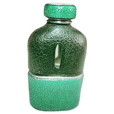 Vintage Shagreen Drinking Flask - Green & Black Collectible Made of Genuine Stingray
