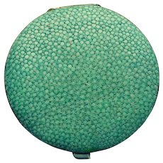 Vintage Shagreen Vanity Compact Powder Case from France - D3