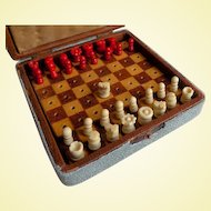 Antique Shagreen Travel Chess Game