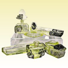 DESNA Bohemian Acid-etched Intaglio Cut Vanity Set with Black Frosted Roses