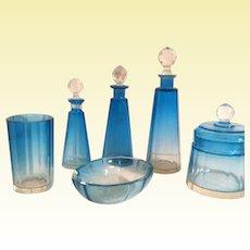 Baccarat / Moser / Val Saint Lambert Blue Boudoir Set