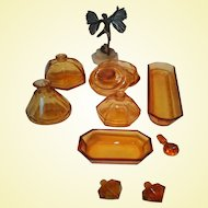 Stunning 1940's Amber Moser Dressing Table Set