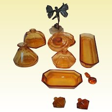 Stunning Deep Amber Moser Vanity Dressing Table Set from 1940's
