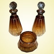 Amber & Gold Moser Dressing Table Perfume Set