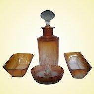 Cognac Tone Moser Crystal Vanity Set
