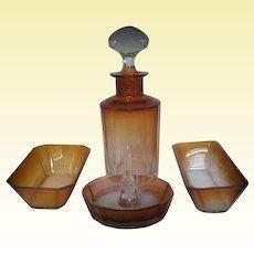 Cognac Tone Moser Karlsbad Crystal Vanity Set