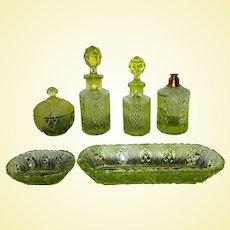 Astonishing Brockwitz Uranium Glass Trinket / Dressing Table Set (A1)
