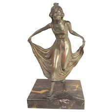 1900's Austrian Bronze Bookend: A Curtsy